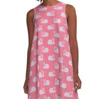 White Mouse Pink Pattern A-Line Dress