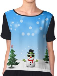 Cool Snowman and Sparkly Christmas Trees Chiffon Top