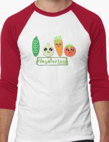 Vegetarian and proud! Men's Baseball ¾ T-Shirt
