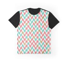 Mint Coral Gold Glitter Chevron Scatter Graphic T-Shirt