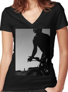 Silhouette cyclist  Women's Fitted V-Neck T-Shirt