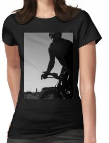 Silhouette cyclist  Womens Fitted T-Shirt