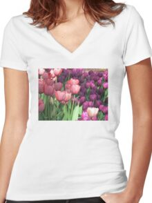 Tulips pinks and purple Women's Fitted V-Neck T-Shirt