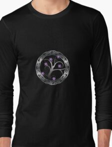 Silver Celt Tree with Purple Blossoming Flowers Long Sleeve T-Shirt