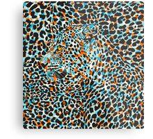 Black & Pastel Tones Camouflaged Leopard Design Metal Print