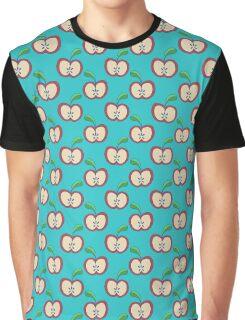 Blue Apple Pattern Graphic T-Shirt
