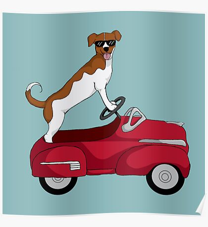 Driving Dog Poster