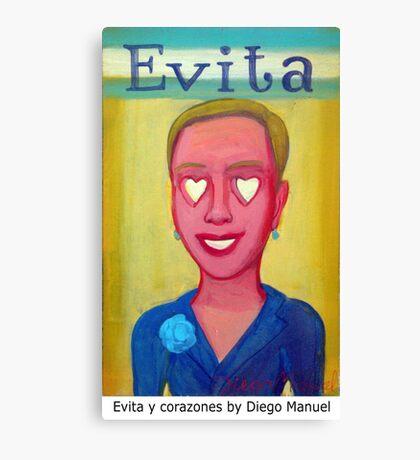 Evita y corazones by Diego Manuel Canvas Print