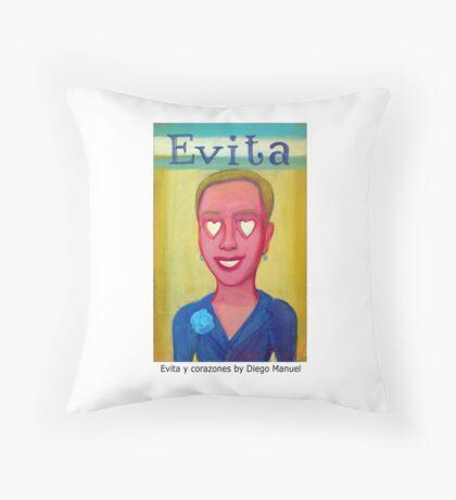 Evita y corazones by Diego Manuel Throw Pillow