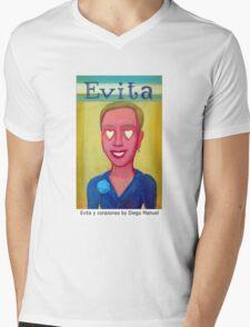 Evita y corazones by Diego Manuel Mens V-Neck T-Shirt