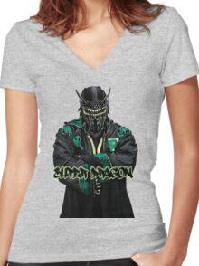 Super Dragon Women's Fitted V-Neck T-Shirt
