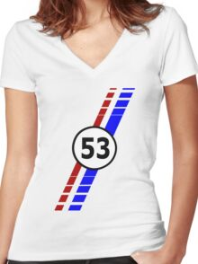 VW 53, the Love Bug's racing stripes and number 53 Women's Fitted V-Neck T-Shirt