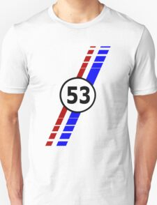 VW 53, Herbie the Love Bug's racing stripes and number 53 Unisex T-Shirt