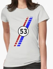 VW 53, the Love Bug's racing stripes and number 53 Womens Fitted T-Shirt