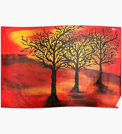 Three Trees Under Red Sky Poster