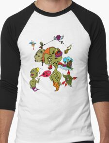 Psychedelic Crazy Monster People Art Men's Baseball ¾ T-Shirt