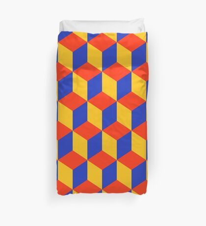 Block Pattern - Red, Amber and Blue Duvet Cover
