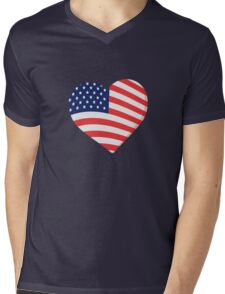 Heart in Stars and Stripes Mens V-Neck T-Shirt