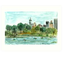 The Lake at Central Park Art Print