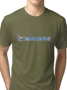 """INCOMPATIBLE and cannot """"coexisist"""" (blue with outline) Tri-blend T-Shirt"""
