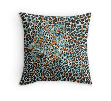 Black & Pastel Tones Camouflaged Leopard Design Throw Pillow