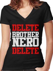Delete Brother Nero Delete Women's Fitted V-Neck T-Shirt