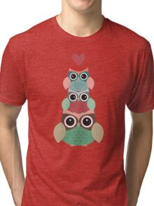 Owls in Love Pattern Tri-blend T-Shirt