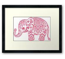 Cute Pink Elephant Vintage Floral Paisley Illustration Framed Print