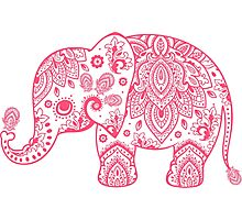 Cute Pink Elephant Vintage Floral Paisley Illustration Photographic Print