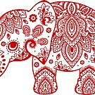 Cute Dark Red Elephant Floral Paisley Illustration by artonwear