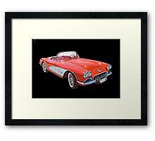 Red And White 1958 Corvette Framed Print