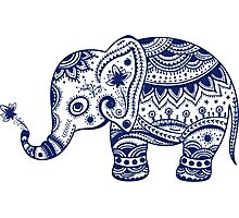 Royal Blue Cute Elephant Tribal Floral Design Photographic Print