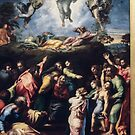 Transfiguration Raphael 1518 20 Vatican Museum Rome 19840723 0045  by Fred Mitchell