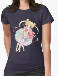 Sailor Moon-Sailor Moon and Sailor Chibi Moon Womens Fitted T-Shirt