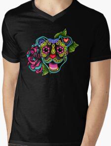 Smiling Pit Bull in Brindle - Day of the Dead Happy Pitbull - Sugar Skull Dog Mens V-Neck T-Shirt