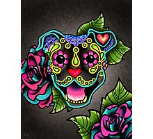 Smiling Pit Bull in Brindle - Day of the Dead Happy Pitbull - Sugar Skull Dog Photographic Print