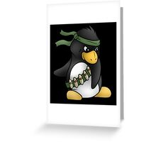Commando Penguin Greeting Card