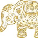 Cute Floral Elephant Gold Glitter Texture by artonwear