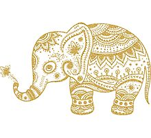 Cute Floral Elephant Gold Glitter Texture Photographic Print