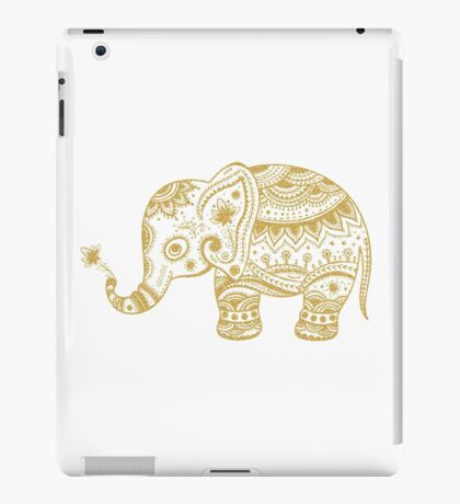 Cute Floral Elephant Gold Glitter Texture iPad Case/Skin