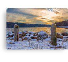 Snowy Lake With A Beautiful Sunset Canvas Print