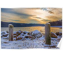 Snowy Lake With A Beautiful Sunset Poster