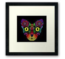 Psychedelic Cat Framed Print