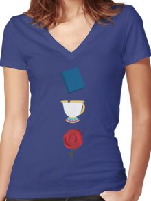 Books, Cups, and Roses Women's Fitted V-Neck T-Shirt