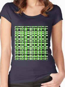Plaid in Lime Green, Black & Gray Women's Fitted Scoop T-Shirt