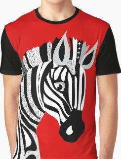 Black and White Hand Drawing Zebra Graphic T-Shirt