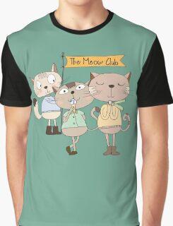 Cute Cartoon Animals Funny Cats Meow Club Graphic T-Shirt