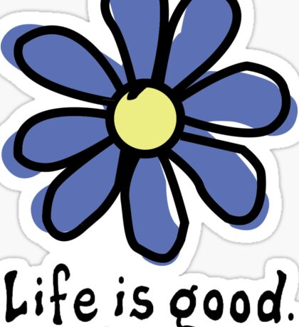 Life is Good Dark Blue Flower Sticker