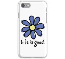 Life is Good Dark Blue Flower iPhone Case/Skin