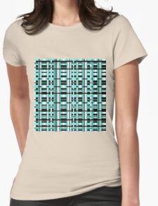Plaid in Aqua, Teal, Black & White Womens Fitted T-Shirt